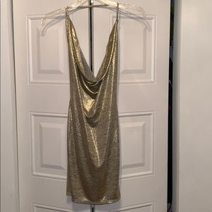 Shimmery gold party dress